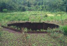 lubang misterius muncul di ladang