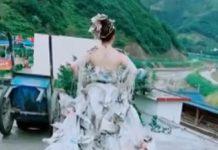 gaun pengantin dari kantong semen