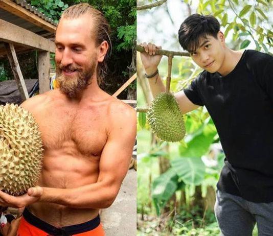 cowok ganteng dengan durian